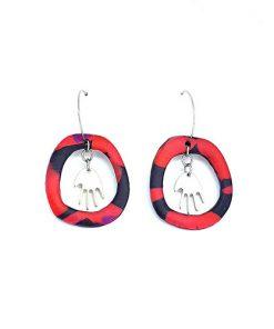 Boucles d'oreilles créoles pendentif main argent rouge et noir